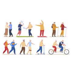 older people active sports recreation set vector image