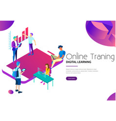 online training and digital learning class vector image