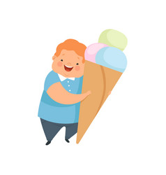Overweight boy with a huge ice cream cute chubby vector