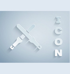 Paper cut marshalling wands for aircraft icon vector