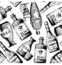 Pattern with bottles alcohol vector