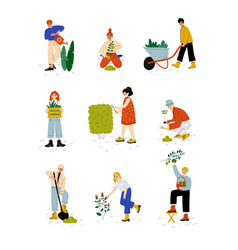 people working in garden or farm set girls and vector image