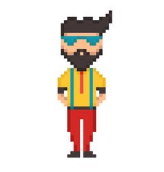 pixel 8 bit young guy vector image