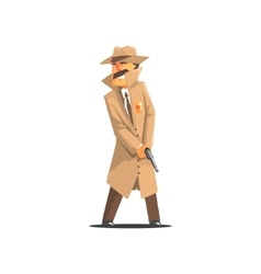 Police detective in a long coat and hat vector