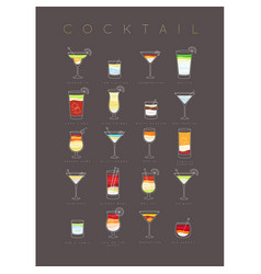 Poster cocktails flat brown vector