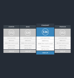 pricing tables mock up template vector image