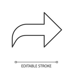 Right curved arrow linear icon direction sign vector