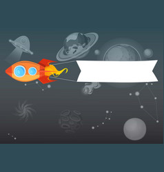 rocket background with blank message advertisement vector image