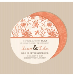 Round floral card vector