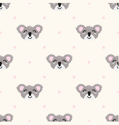 seamless pattern with cute koalas and polka vector image