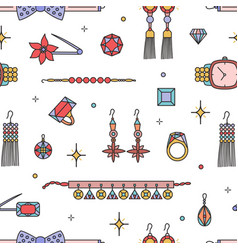 seamless pattern with fashionable jewelry vector image