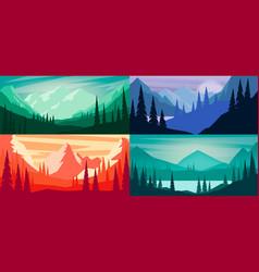 set cartoon mountain landscape in flat style vector image