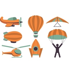 Set icons aviation vector