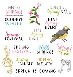 Set of hand-drawn spring design elements vector