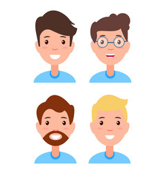 set of men faces character constructor hairstyles vector image