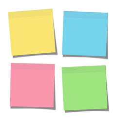 set yellow green blue and pink paper sticky vector image