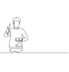 Single continuous line drawing artist painter vector