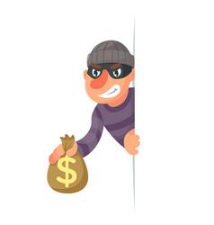 stole money evil greedily thief cartoon rogue vector image