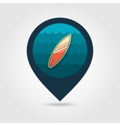 Surfboard on water pin map icon Summer Vacation vector image