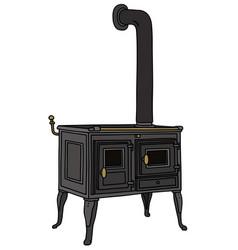 The retro cast iron stove vector