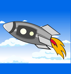 Transport space rocket in the sky clouds and vector