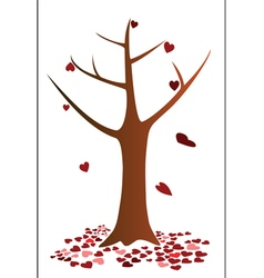 Tree and heart falling down vector
