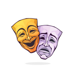 Two theatrical comedy and drama mask vector