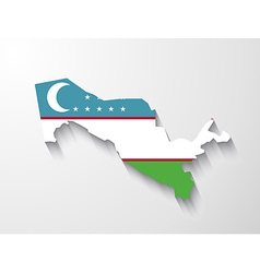 Uzbekistan map with shadow effect vector image
