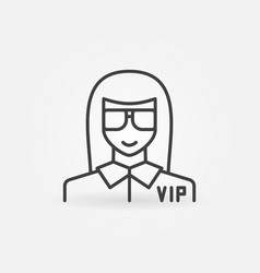 Vip woman icon in thin line style vector