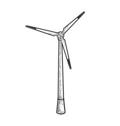 Wind turbine line art sketch vector