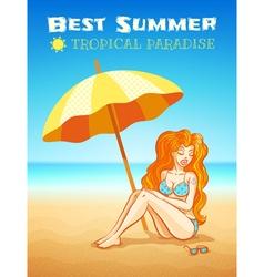 Beach girl vector image