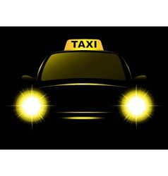 dark cab silhouette with taxi sign vector image
