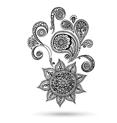 Henna Flowers and Paisley Mehndi Tattoo Doodles vector image