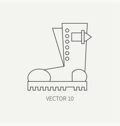 Line flat icon wear - ankle boots punk vector