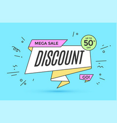 ribbon banner with text discount vector image