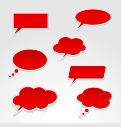 Set of various red speech bubbles vector image vector image