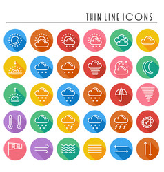 weather pack line icons set meteorology weather vector image