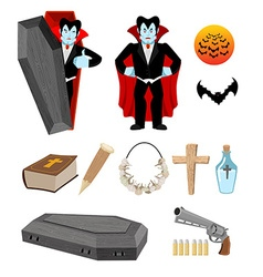 Dracula set Vampire and bats Weapon against vector image vector image