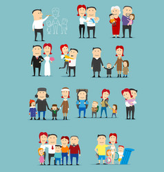 family activity cartoon character set design vector image