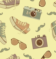 Hipster seamless background vector image vector image