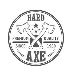 lumberjack axes round logo template vector image vector image