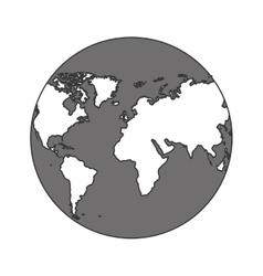 monochrome color of sphere planet earth vector image