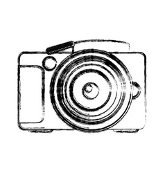 monochrome sketch of analog photo camera vector image