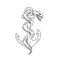 rattlesnake coiling on anchor drawing vector image vector image