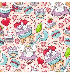 Seamless sweet cupcake party background pattern vector image vector image