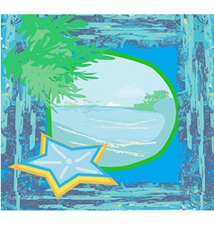 Tropical beach landscape - abstract grunge vector image