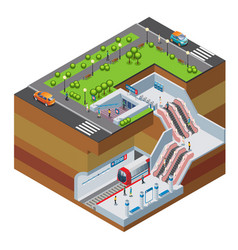 isometric metro station concept vector image vector image