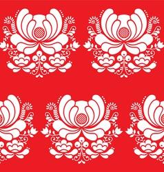 Norwegian folk art seamless white pattern on red vector image vector image