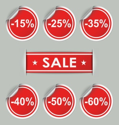 Sale stickers and tags with discounts vector image vector image