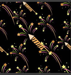 seamless pattern with abstract fireworks and vector image